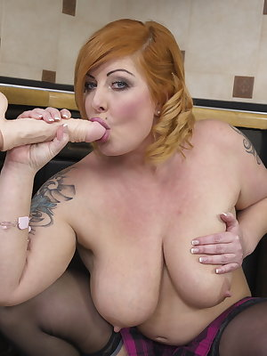 Naughty Chubby housewife getting frisky in the kitchen