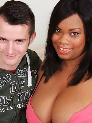 Black mature BBW having fun with a young white dude