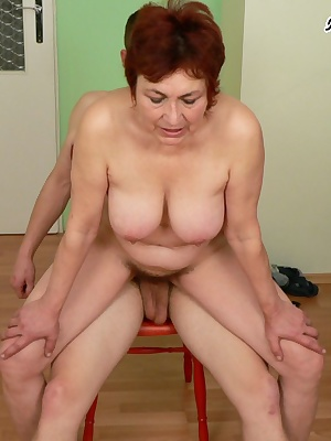 Horny mature slut filled up with cock