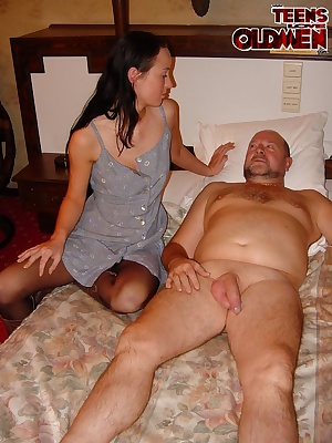 she looks shy but she loves mature cock