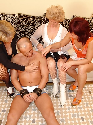 three mature sluts and a guy