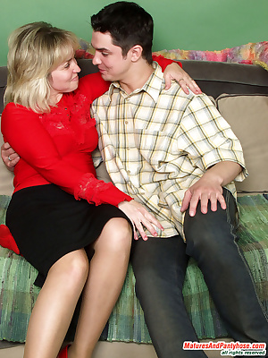 Virginia&Adam pantyhose sex with mature woman