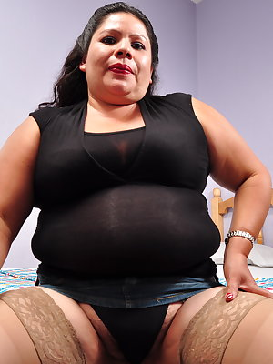 Mature hairy latina BBW playing alone
