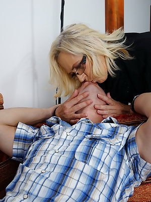 Horny mature slut playing with her younger lover