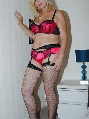 Platinum Blonde strips out of her lingerie.