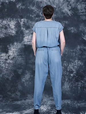 In Jeans Jumpsuit Underneath blue lingerie.And then a nice strip.
