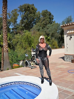 I thought I'd try out a new style swim suit but it soon became apparent that the body stocking is better for fucking in.
