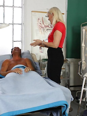 Lady Sextasy, in her role as a sex consultant, helps a young man with his erection problems