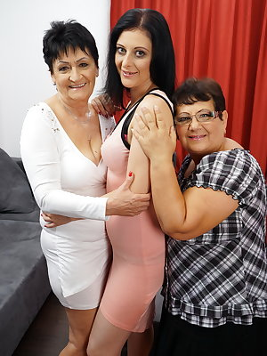 Three naughty housewives having fun together