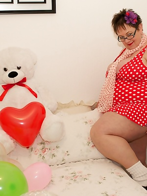 Heres a set I Shot of Warm Sweet Honey in a Retro style Polka dot swimsuit but shes also wearing Tights and ankle socks