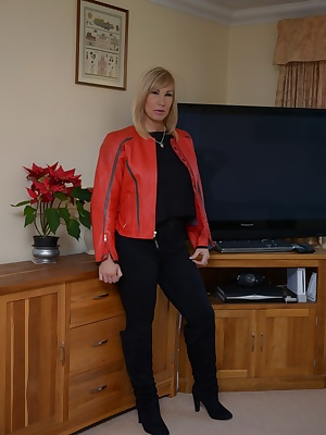 I love the feel of this tough but soft leather biker jacket against my skin. Melody x