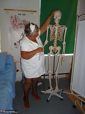 Nurse Libby has great fun when attending to a patient   I guess I am trying to breathe some life into him  What do you t