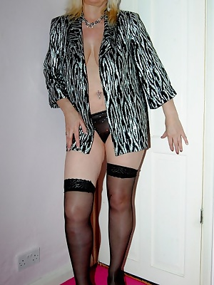 Pictures of me dressed in my silver jacket, stockings and panties which I remove to reveal my sexy pussy. Also I flash m