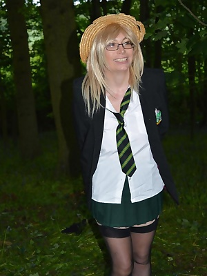 Schoolgirl barby goes into the woods and is used by 2 guys