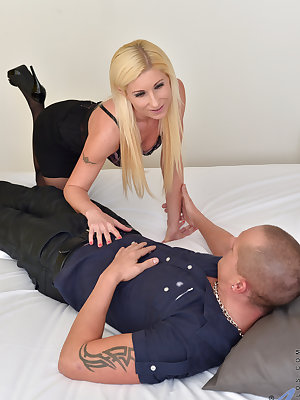 Angelic blonde Vanessa Hell is ready to make her man's night. She lets him feel up her hanging all naturals and feast on her creamy twat, then goes to town sucking him off. Once these two come together they'll explore every position that feels good until