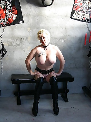 In this photo set, I whip and slap  my big udders, I make a bondage very squeezed, I stretch my nipples with clamps and