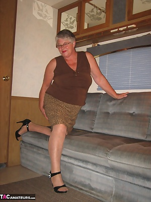 Relaxing at my recreational trailer, i just had to get into a sexy skirt and show you my mature horny self...