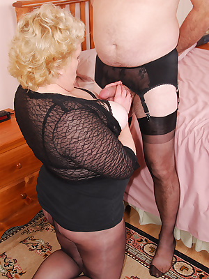 Cum join me on my hot time with James. I wear an open lacy bra, sheer top, a short skirt and pantyhose... and James wear