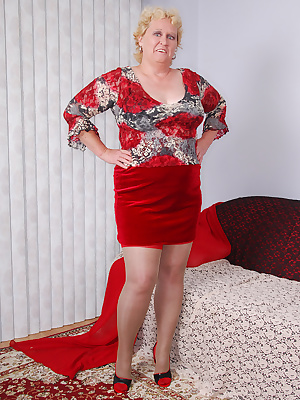 My red seam and tops stockings look so sexy with my red velvet skirt. To be different, I wear them on top of sheer grey