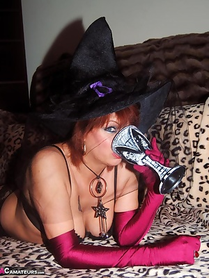 One for Halloween Pics of Witch Dimonty stripping and drinking her potion.