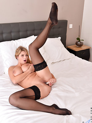 Bigtit mom Katarina Hartlova gets things started in a bra, panties, and thigh high stockings, but she'll happily unveil her huge knockers and creamy bare cunt for your pleasure. Once this busty milf starts playing with her twat with a vibrating toy, she c