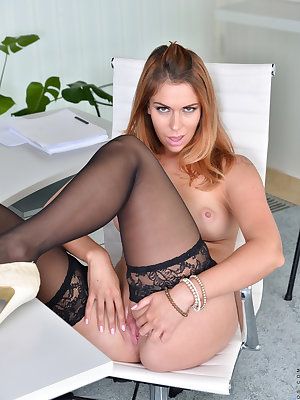After a long day at the office, Ani Blackfoot just can't wait to get home before stripping and masturbating. The Russian mom would rather peel off her suit, thong, and bra right where she is so she can get herself off with a magic finger fondling her hang