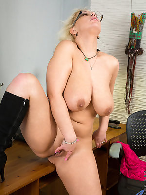 Juicy milf Luba Love stops working to take off her clothes so she can play with her all natural bigtit boobs. Continuing to get naked, the glasses wearing mom unveils her cock craving cunt and then slips her hand between her thighs to finger fuck her crea