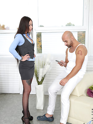 Busty Russian milf Bony Clyde is about to make her lover's day with her huge tits and lusty fuck hole. Dropping to her knees she gives a puffy lip blowjob and then presents her bare snatch for a doggy style pussy pounding. This horny couple won't quit unt