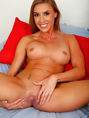 Amateur housewife Kate Linn is brand new to the adult world, but she's already making a splash. Her enhanced tits are still firm and perky, and she loves to have them squeezed and her nipples tweaked before she moves her attention south to fingering the s