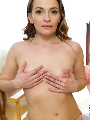 Russian housewife Alika S. is sweet and skinny with a body that's aging very well. Her miniskirt hikes up easily to show you that she's not wearing any panties over her bare twat, and her top and bra are quick to come off so she can caress every inch of h