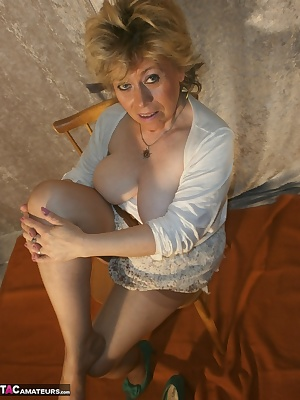Armpits, legs and pussy, all very naturally hairy.Packaged in stockings and garter belt.