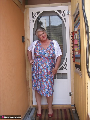 Girdlegoddess Looking like the MILF next door, wearing a nice summer dress and a sexy full slip. Open the door and let m