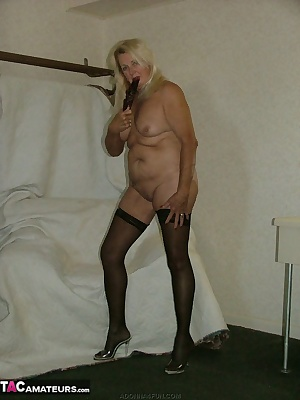 Naked except for thigh highs - a fan doesn't hide much - but makes for a fun time