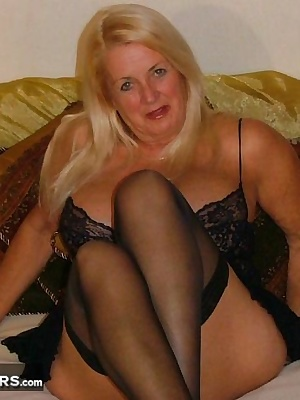 MILF - sexy in lingerie and stockings - see how the stocking ends up on the inside