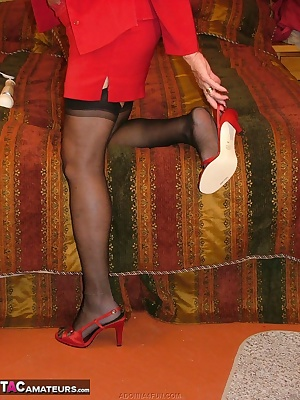 Sexy secretary coming home to undress and unwind - with a magic wand vibrator.