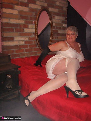 In my satin white slip and long black satin gloves. Oh yes I have to show you my special nipple bra. Its sooo sexy, perf