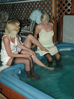Join Irene, Adonna, and myself in the new hot tub.we couldnt even wait long enough to take our clothes off Kisses, Devly