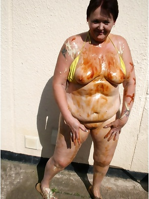 Now I am really covered in salad cream, marmite and syrup. Yummmy, would you like to lick me off.