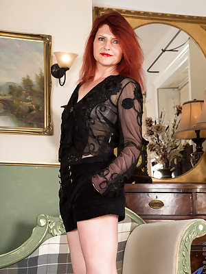 Mature and horny, Cee Cee is ready for action anytime, anywhere. She's always happy to peel off her miniskirt and sheer panties and bra, baring herself for the touch of her soft hands on her hanging all naturals, followed by the caress of her palms along