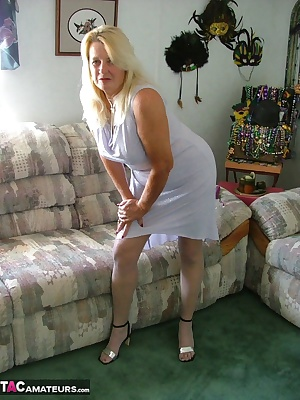 Virginal white dress and stockings for you to enjoy while I take pleasure in my little