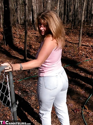 You asked for it, here I am with my tight jeans. I added some sheer pantyhose and some high heeled walking shoes for a d