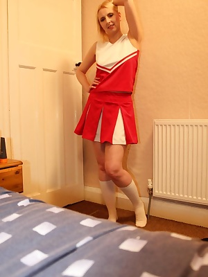A great set in my cheerleader uniform.Just because i love to be fucked straight up the fart pipe in uniform.Those littl