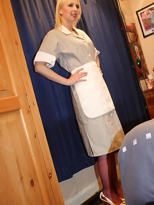 I'm this sexy little housemaid today in a real life uniform.Its more than beds Fred wants to make as he bones my holes i