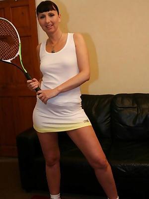 Racquets at the ready Tracey wants you over a net and banging back some balls at her I've heard she loves plenty of back