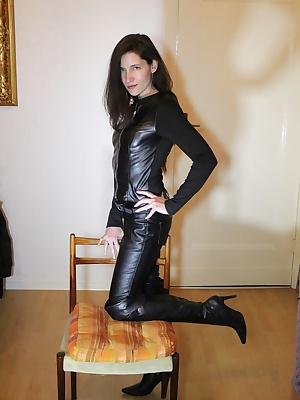 Posing for you in my skin tight leather outfit