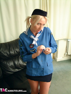Tracey finds her old girl guide outfit in a drawer.She puts it on for old Freddie.What a treat as the dirty old fucker k