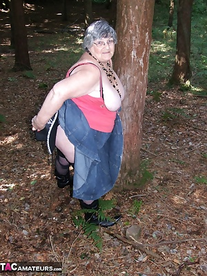 Denim skirt, cowboy hat, boots and fishnets  and a squirty dildo.  What fun I had in the woods the other day.  I thought
