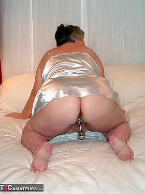 This silver satin chemise feels really sexy so I cant resist playing with myself.  Yes another fine set of pics from Kry