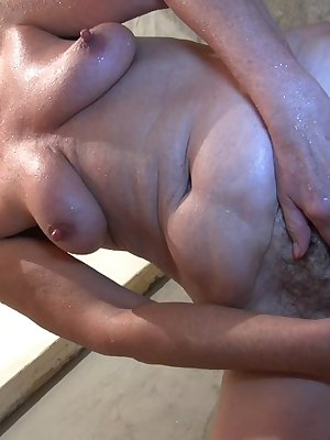 Slutty mature fucking girl with strapon dildo in various positions
