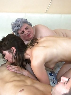 Chubby grey hair granny in naughty threesome with young couple